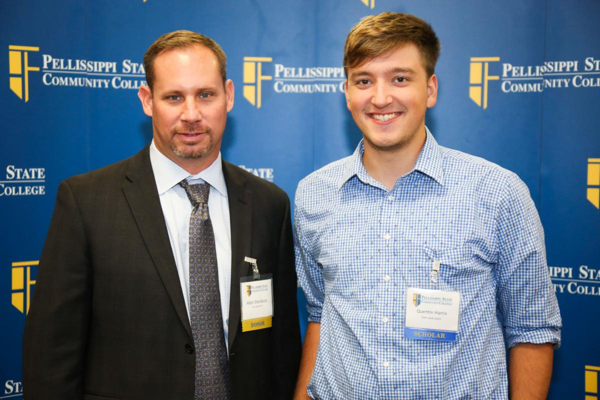 """Pellissippi State Community College Donors & Scholars Reception. Congrats to Quentin Harris, this year's recipient of ETEBA's """"Earn and Learn"""" scholarship which was funded largely by L&A's donation. Pictured with Allen Stansbury."""