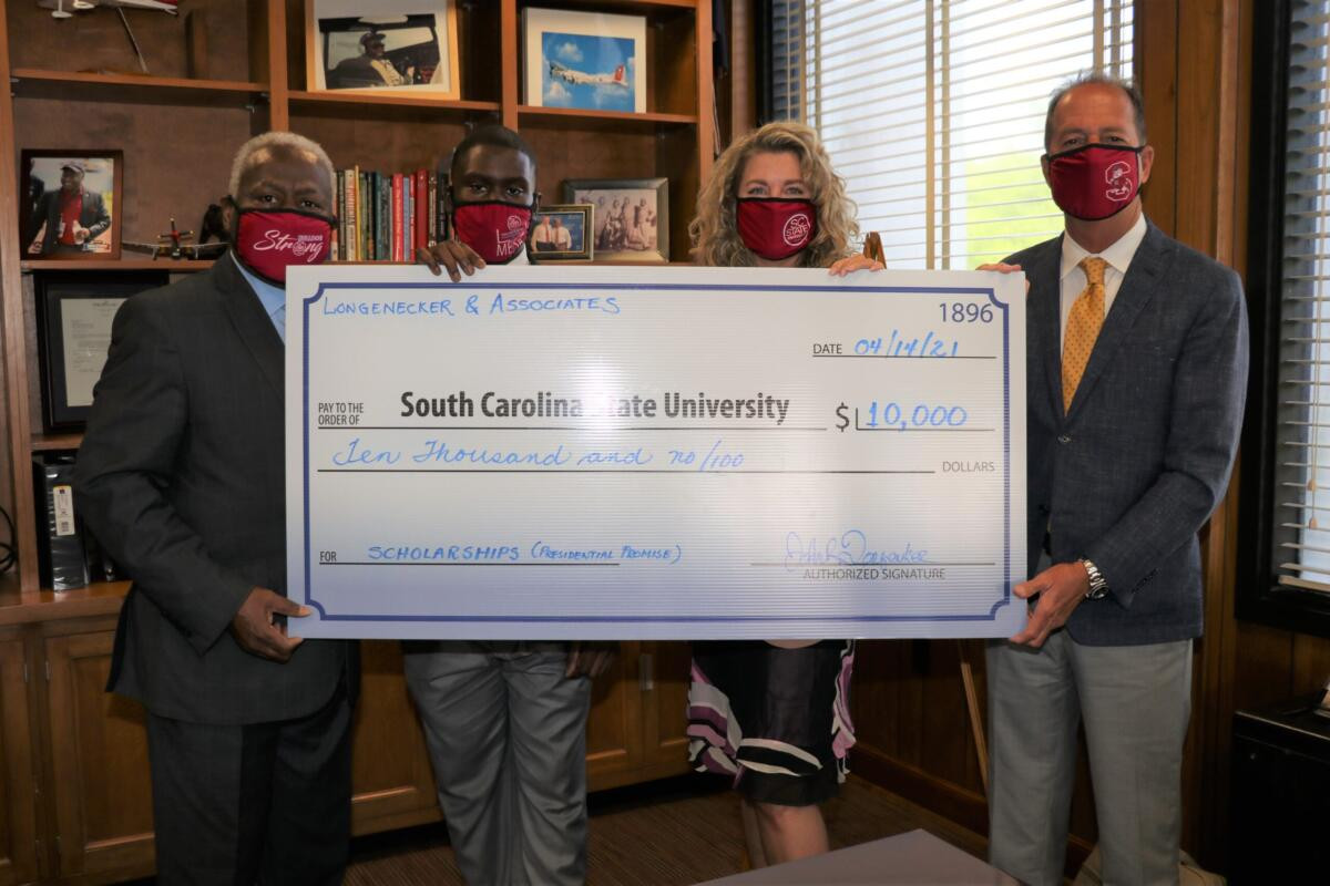 L&A presents South Carolina State University with second $10,000 donation for STEM scholarships.